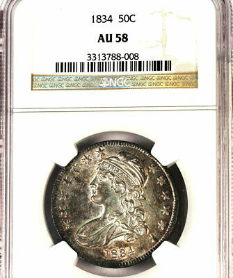 1834 50C Large Date, Large Letter AU58 NGC-O-113- CAPPED BUST HALF DOLLAR
