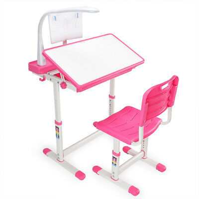 Pink Adjule Children S Study Desk Chair Set Child Kids Table With Led Lamp