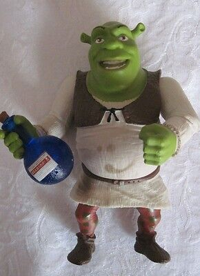 "Shrek plastic figurine, moveable arm joints & legs, with blue bottle, 6.25"" tall"