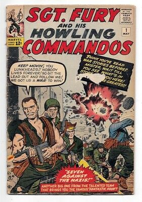 Sgt Fury And His Howling Commandos 1, G/vg (3.0), 1963 Marvel, 1St Sgt Fury
