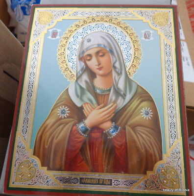 Virgin of Extreme Humility - Sorrows Russian wood icon  large 8.5 x 7 inches