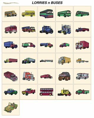 LORRIES BUSES. CARD machine embroidery designs jef files janome 300e transport