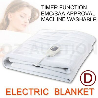 Queen Size Fitted Heated Electric Blanket Detachable Dual Control Polyester