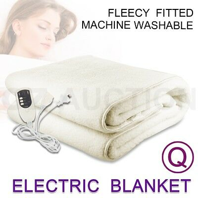 Electric Blanket Fleece Fully Fitted Heated Bed Queen Size Underlay Timer