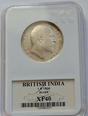 India, 1906, 1 Rupee coin, silver, Edward VII, Great condition