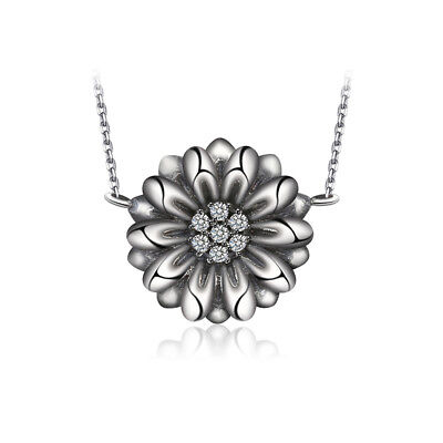 JewelryPalace Vintage Flower 0.1ct Cubic Zirconia Necklace 925 Sterling Silver