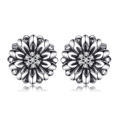 JewelryPalace Vintage Flower 0.1ct Cubic Zirconia Stud Earrings 925 Silver