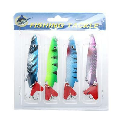 4Pcs 10cm 11g Vivid Hard Fishing Lures Spoon Sequin Baits/Treble Hook TM U6A8