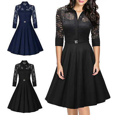 UK Womens 1950s Vintage Style Retro Evening Party Swing Classic Lace Dress A021