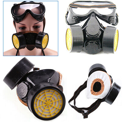 Respirator SPRAY Dust Face Mask Goggles Protect Dual Cartridge Industrial Safety