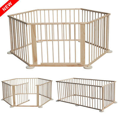 Baby Kid Child Toddler Wooden Foldable Playpen Play Pen Room Divider Heavy Duty