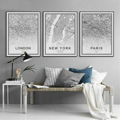 World City Map London Paris New York Poster Nordic Home Deco Art Canvas Painting