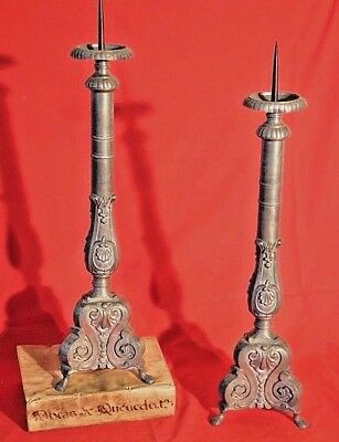 Pair antique French baroque candlesticks lamp bases candle holders rococo 1800's