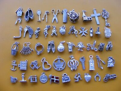 V Vintage Sterling Silver Charm Charms Scissors Cross Sailor Clogs Bike Heart