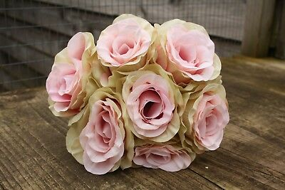 7 x PALE VINTAGE PINK SHADED  SILK ROSES 7cm TIED BUNCH / SMALL BOUQUET