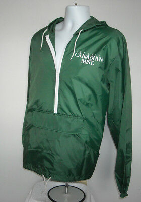 New Canadian Mist Whisky Windbreaker Hooded Jacket Large Aqua Sheen green