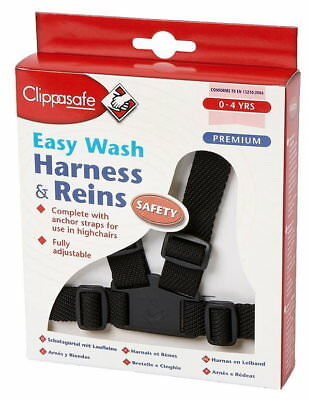 Clippasafe Easy Wash Child Harness & Reins (Black)
