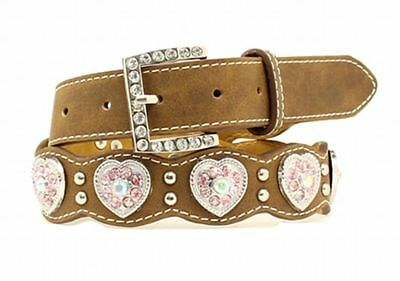 Nocona Brown Scallop Pink Crystal Heart Conchos Girls Belt Size 18 Western