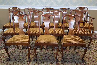 Fine Set 12 Antique Late 19th Century Walnut Queen Anne Dining Room Chairs