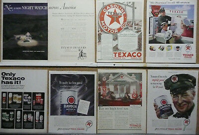Texaco Oil and Gas Magazine Ad Lot (7) Print Ads