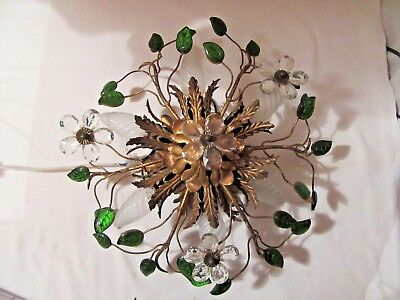 c1950's FRENCH MID CENTURY AUTHENTIC MAISON BAGUES CRYSTAL CEILING MOUNT FIXTURE
