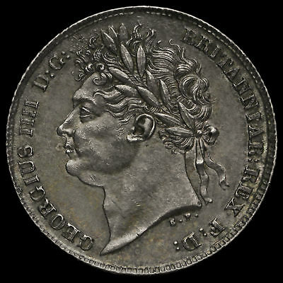 1825 George IV Milled Silver Sixpence, A/UNC