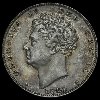 1829 George IV Bare Head Milled Silver Sixpence, EF