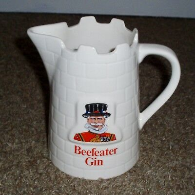 "Beefeater Gin Water Ceramic Glazed Pitcher ""pub Jug"" Bar Advertising England"
