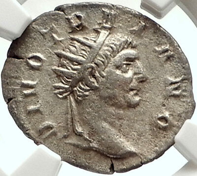 Divus TRAJAN Authentic Ancient Silver 250AD Roman Coin TRAJAN DECIUS NGC  i68411