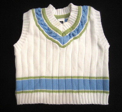SWEET! Baby Boy Baby Gap Sweater Vest Clothes size 3 Month  White Blue Green LN