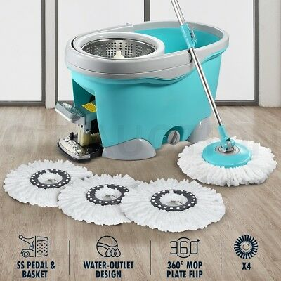 Spin Mop Bucket System Hurricane Spining Mop Cleaner with 4 Bonus Mop Heads 9L