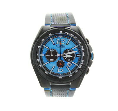 Citizen Men's Eco-Drive BRT Blue Dial Leather Strap Chronograph Watch CA4148-00L