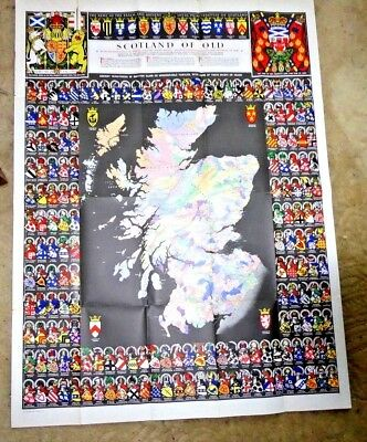 Vintage Map Coat Of Arms Scotland Clan Map Bartholomews Macphilip Macgoun Tosh