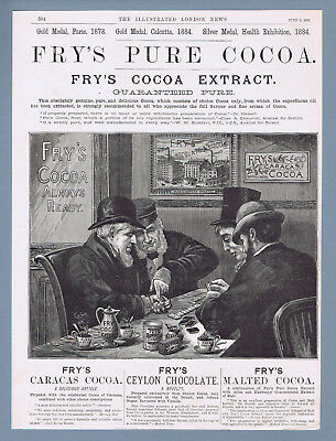 Original Antique 1885 Fry'S Pure Cocoa Chocolate Advertising -  AD print
