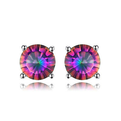 JewelryPalace 925 Sterling Silver Genuine Fire Rainbow Coated Quartz Earrings