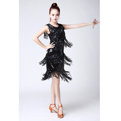 a7ce357cf Sequins Latin Dance Fringe Competition Dress Ladies Party Ballroom Tassels  Skirt