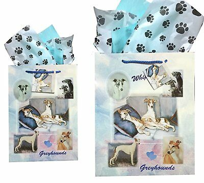Whippet Greyhound Gift Bags Set of Two with Tissue Paper Whippets Ruth Maystead