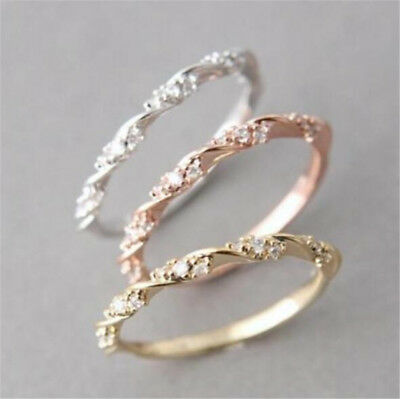 Women 14K Solid Rose Gold Stack Twisted Ring Wedding Party Jewelry Gifts SZ 6-10