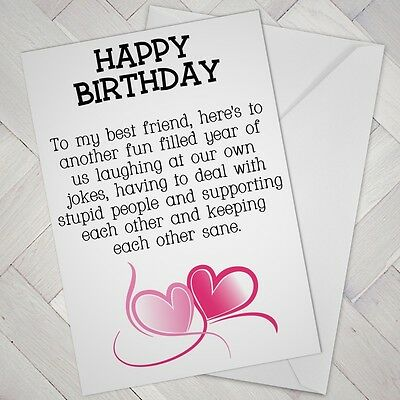 Best Friend Birthday Card Friends Funny Mate Female Girl Support