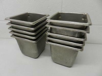 "Sysco Vollrath LOT of 10 Steam Table Pan 1/6 Size 6"" Deep 18 SS Stainless Steel"