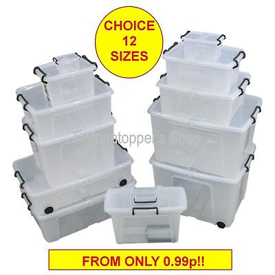 British Made Smart Box Clear Plastic Storage Boxes With Lids - Choice 12 Sizes