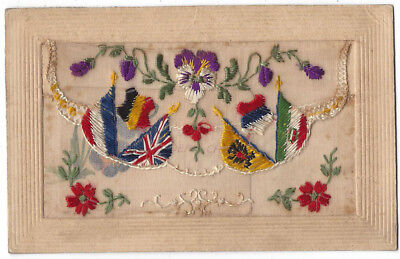 WW1 Embroidered Silk Patriotic Postcard Allied Flags & My Dear Child Insert Card