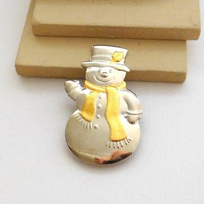 Vintage Hallmark Cards Silver Gold Mixed Metal Snowman Christmas Brooch Pin WW23