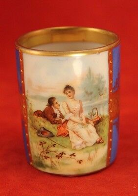 Antique Royal Vienna Hand Painted LOVERS PICNIC Chocolate Cup Beehive Mark