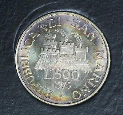 1975 San Marino 500 Lire Silver Coin in Mint Box.  Beautiful Rainbow Toning!