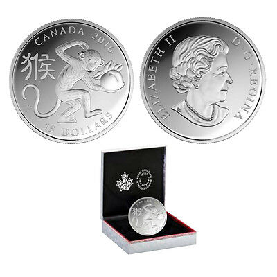 2016 Canada $15 Year of the Monkey 1oz. Fine Silver Coin (OGP/COA)