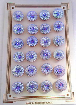 24 Czech Purple Crystal Glass Buttons on Card #G863 - UNIQUE!!!!!!!!!!!!!!!!