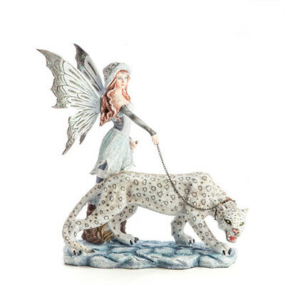 Leopard Companion Fairy with Snow Leopard 20cm High Nemesis Now