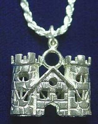 LOOK 1174 medieval Sterling Silver King Castle Pendant Charm