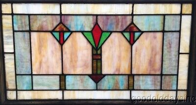 "Antique Stained Leaded Glass Transom Window 34"" by 21"" Circa 1925"
